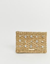 River Island Woven Clutch Bag With Embellishment In Tan Beige