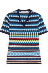 Mary Katrantzou Clio Jacquard Knit Top Blue