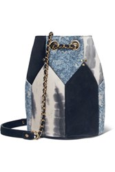 Jerome Dreyfuss Popeye Medium Paneled Leather Bucket Bag Blue