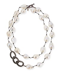 Margo Morrison Baroque Pearl And Black Spinel Link Necklace 35