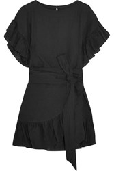 Etoile Isabel Marant Delicia Ruffled Linen Mini Dress Black