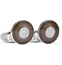Dunhill Sterling Silver Enamel And Diamond Cufflinks