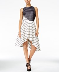 Rachel Roy Striped Fit And Flare Dress Only At Macy's Ecru Combo