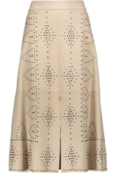 Alice Olivia Giselle Studded Leather Midi Skirt Beige