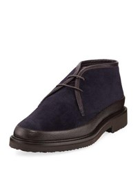 Ermenegildo Zegna Trivero Suede And Leather Chukka Boot Navy