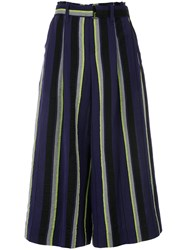 Issey Miyake Striped Flared Trousers Linen Flax Polyester Wool Blue