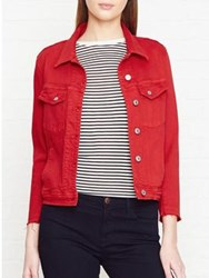 7 For All Mankind Frayed Detail Denim Jacket Red
