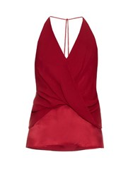 Dion Lee Silk Satin Twist Front Cami Top Red