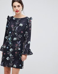 Zibi London Long Sleeve Printed Floral Shift Dress Black