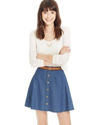 American Rag Printed Button Front Belted Skirt Inez Wash