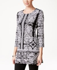 Styleandco. Style And Co. Three Quarter Sleeve Printed Tunic Only At Macy's Ornate Garden