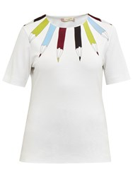 Ted Baker Colour By Numbers Thanaa Pencil Neckline Print Top Ivory