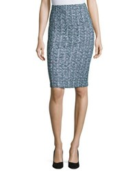 St. John Tweed Pull On Pencil Skirt Green Pattern