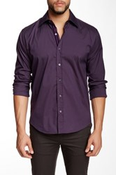 Lorenzo Uomo Solid Eggplant Stretch Long Sleeve Trim Fit Shirt Purple