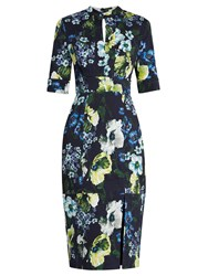 Erdem Davina Hasu Night Print Cotton Blend Twill Dress Navy Multi