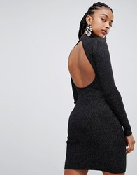 Bershka Lurex Detail Open Back High Neck Dress Black
