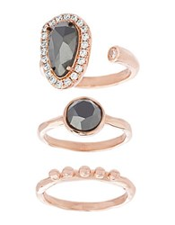 Lord And Taylor Nes Jewelry Hematite Crystal 18K Rose Gold Sterling Silver Oval Round Polished Triple Ring Set