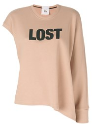 Lost And Found Rooms Asymmetric Graphic Printed Sweatshirt Women Cotton S Nude Neutrals