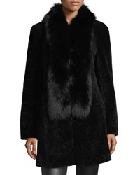 Belle Fare Shearling Coat W Fox Fur Trim Black