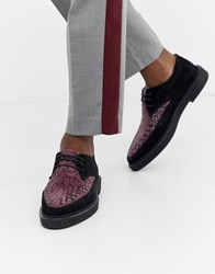 House Of Hounds Kain Creeper Derby Shoes In Purple Snake Print Black