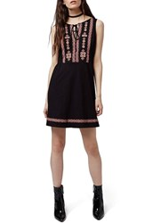 Petite Women's Topshop Embroidered Skater Dress