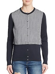 Marc By Marc Jacobs Gingham And Knit Cardigan Normandy Blue