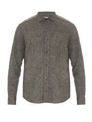 Inis Meain Silk And Linen Blend Knitted Overshirt Navy Multi