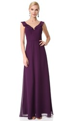 Monique Lhuillier Bridesmaids V Neck Ruffle Gown Plum