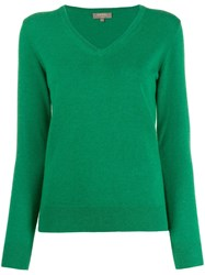 N.Peal Cashmere V Neck Jumper Green