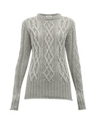 Thom Browne Stripe Trimmed Cable Knit Merino Wool Sweater Grey Multi