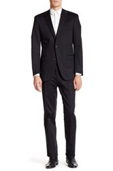 Ike Behar Navy Two Button Notch Lapel Wool Suit Black
