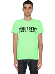 Dsquared Logo Printed Cotton Jersey T Shirt Neon Green