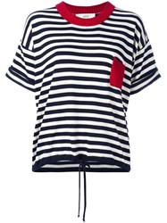 Vanessa Bruno Athe Striped Knitted T Shirt Blue