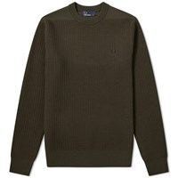 Fred Perry Waffle Crew Neck Jumper Green