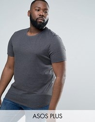 Asos Plus T Shirt With Crew Neck In Charcoal Charcoal Grey
