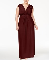 Love Squared Trendy Plus Size Sleeveless Knotted Maxi Dress Plum