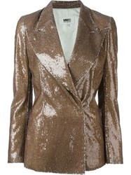 Maison Martin Margiela Mm6 Maison Margiela Double Breasted Sequin Blazer Brown