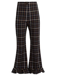 A.W.A.K.E. Jellycheck Flared Cropped Trousers Navy Multi