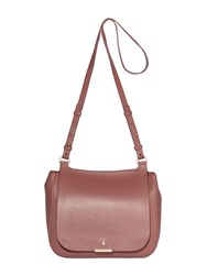 Modalu Margot Leather Saddle Crossbody Bag Mauve