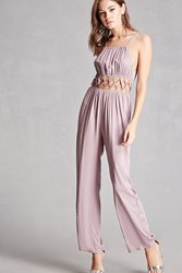 Forever 21 Pixie And Diamond Caged Jumpsuit Lavender