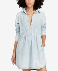 Denim And Supply Ralph Lauren Pintucked Chambray Cotton Dress Faded Indigo Wash