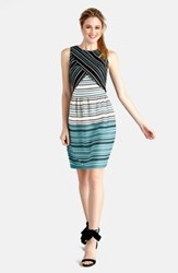 Donna Morgan Print Scuba Layered Bodice Fit And Flare Dress