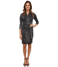 Karen Kane Snow Leopard Cascade Wrap Dress Print Women's Dress Multi