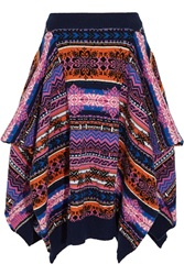 Sibling Asymmetric Fair Isle Wool Skirt