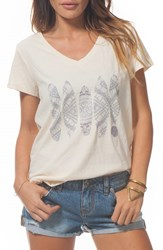 Women's Rip Curl 'Mayan Sun' Graphic V Neck Tee White