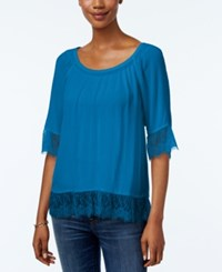 Inc International Concepts Petite Lace Trim Peasant Blouse Only At Macy's Caribbean Blue