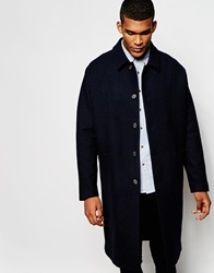 Asos Overcoat With Point Collar In Navy