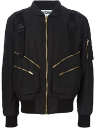 Moschino Buckled Strap Bomber Jacket Black