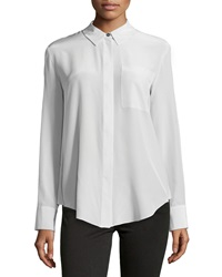 Derek Lam 10 Crosby Layered Back Washed Silk Blouse Mist