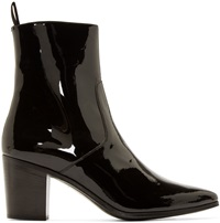 Saint Laurent Black Patent Leather French Boots
